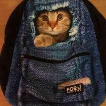 Рюкзак с котом и с джинсовым рисунком, в Всеволожске