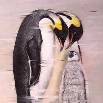 Картина маслом Семья Королевских пингвинов, в Москве