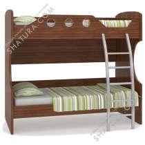 Двухъярусная кровать с металлической лестницей, цвет орех, в Кимре