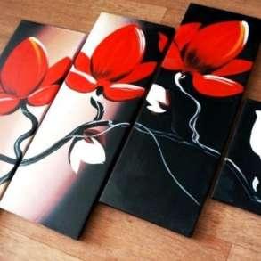 Цветы, модульная картина масляными красками на холсте, живоп, в Москве
