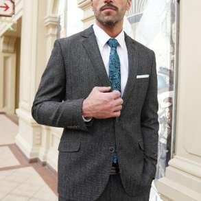 Мужской костюм купить из шерстяной итальянской модной ткани, в Москве