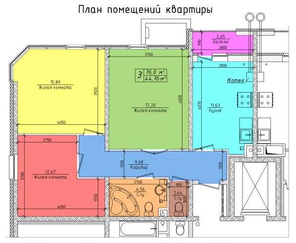 3-к квартира 71.2 м² на 1 этаже 10-этажного монолитного дома