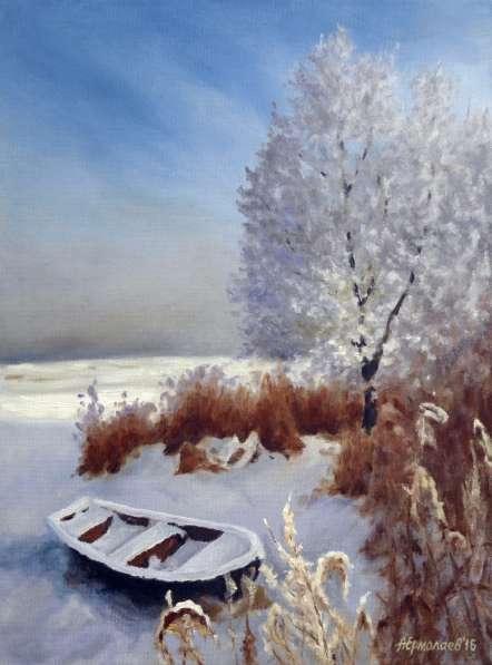 "Картина маслом ""Лодка на снегу"""