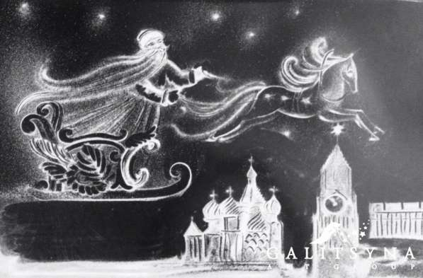 Рисунки светом и снежное шоу в Ростове