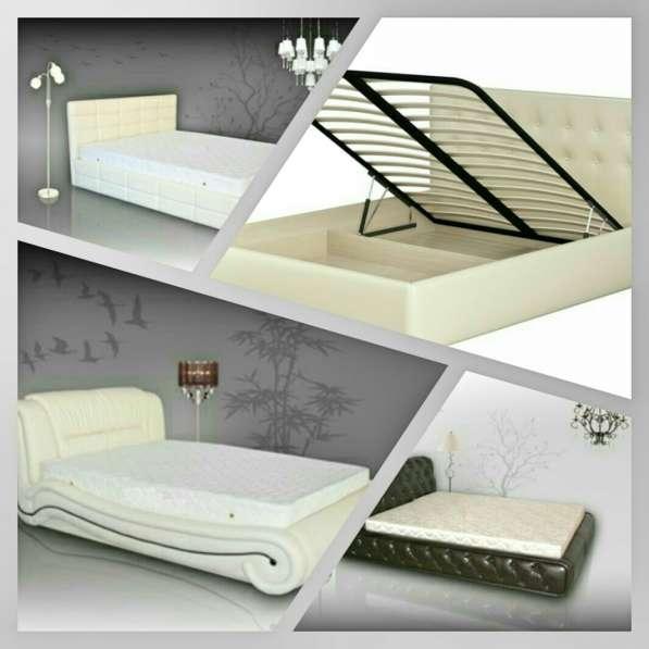 Двуспальные кровати из экокожи