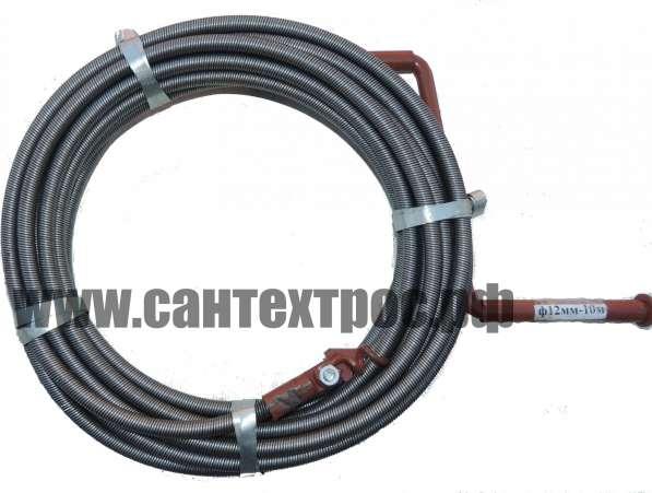 Трос сантехнический ВС-10 длина 10 м, сменные инструменты