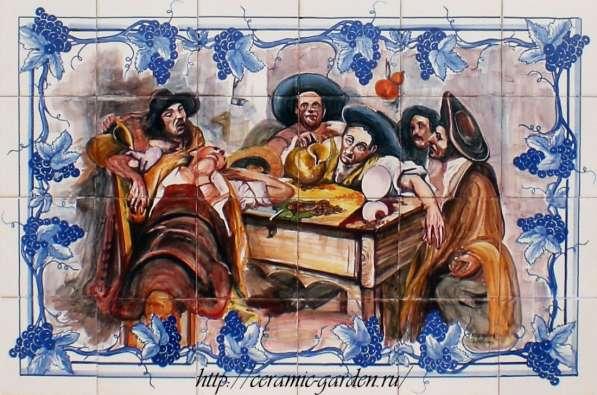 панно на плитке,ручная роспись на плитке из Португалии