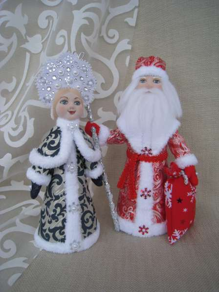 Дед Мороз и Снегурочка настольные. Авторские куклы