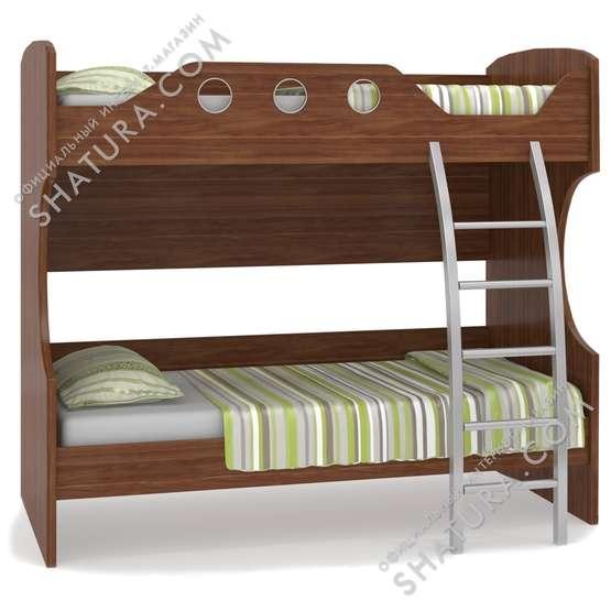 Двухъярусная кровать с металлической лестницей, цвет орех