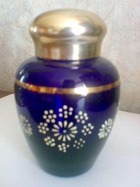 Чайница. Кобальтовое стекло, эмаль, золото