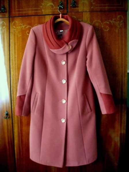 Пальто драповое,фуксия комбинированный цвет