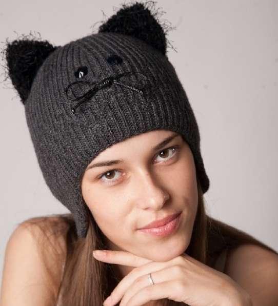 """Женская трикотажная двойная шапка модель 416 """"Котёнок"""""""