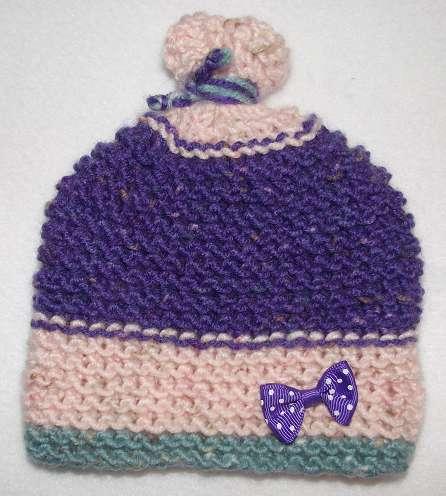 Детская одежда шапочка роз-фиолет новорожд малышке 0-3 6-9 м