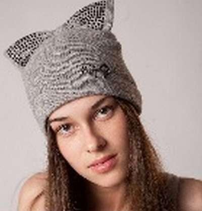 """Женская трикотажная шапка модель 398 """"Бант"""""""
