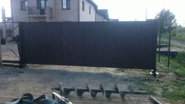 Откатные ворота 3,5*2,0 м со встроенной калиткой