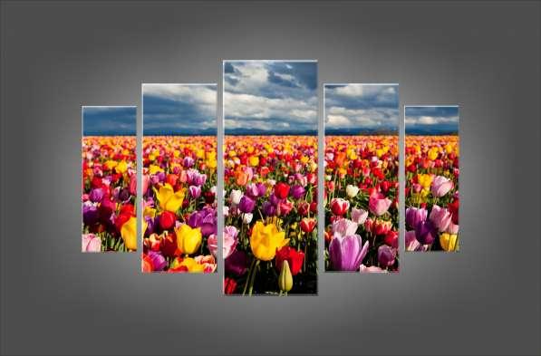 """Модульная картина """"Бескрайнее поле цветов"""""""