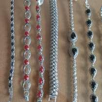 Серебряные браслеты с натуральными полудрагоценными камнями, в Москве
