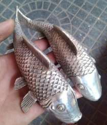 Две фигуры рыб фэн-шуй, тибетское серебро, в Барнауле