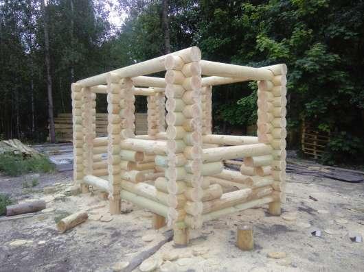 Столы лавочки из бревна оцилиндрованного в г. Гомель Фото 1