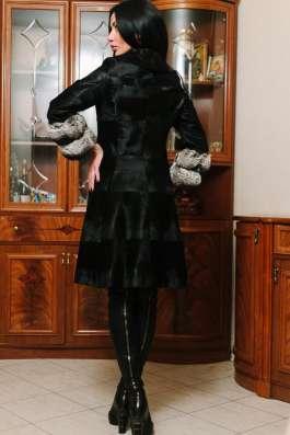 Шуба пальто Swakara + шиншилла, 40-44