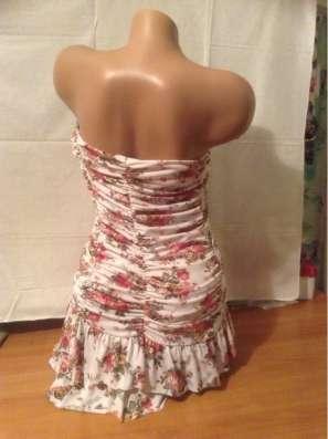 Платье летнее, без бретелей, с воланами