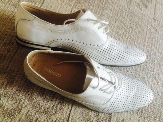 Туфли мужские летние, кожа, светлые, перфорированные