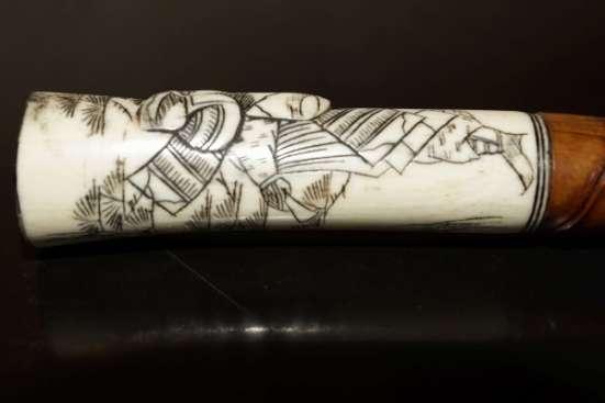 """Старинная трость японского воина Сикомидзуэ с рукоятью из слоновой кости """"Самурай"""". Япония, XVIII век."""