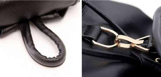 Рюкзак черный кожезаменитель кожзам PU-кожа на шнурке