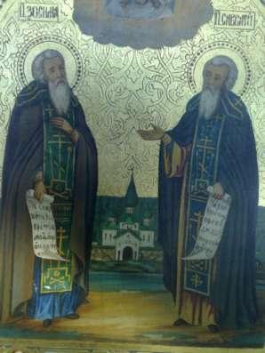 Икона Соловецкие чудотворцы.Сусалка.19в.