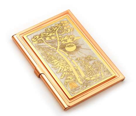Визитница в золоте с ручной рисовкой