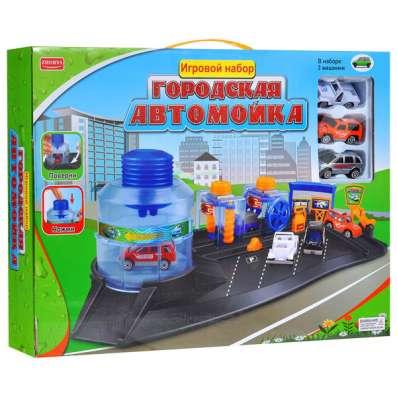 Городская автомойка Парковка с 3 машинками Игровой набор