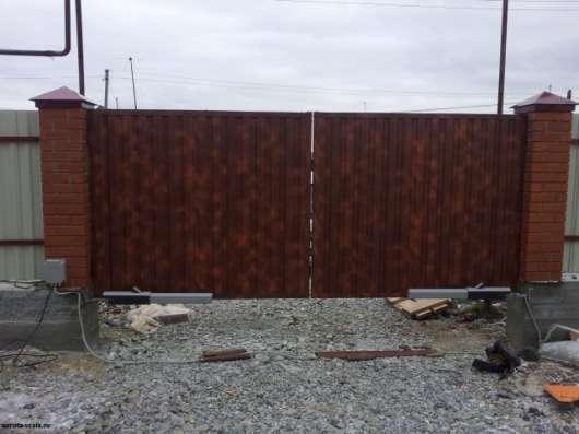 Автоматические ворота белые и коричневые в Первоуральске Фото 1
