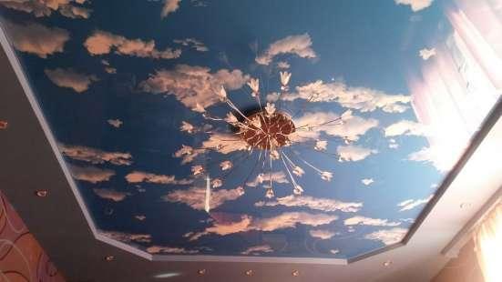 Бесшовный Натяжной потолок Фактура Небо с облаками ГЛЯНЕЦ