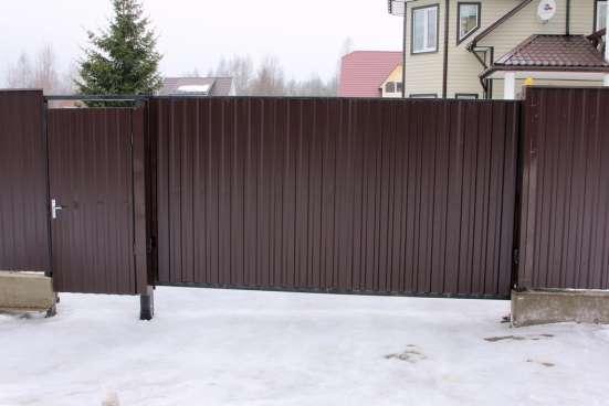 Забор, ворота откаттные, распашные.