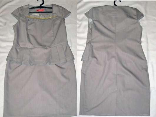 Платье новое серое с коротким рукавом и баской