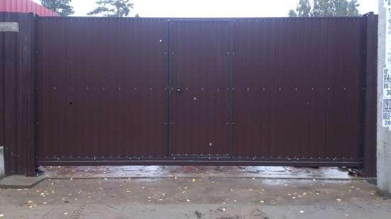 Откатные ворота 4,5*2,0 м со встроенной калиткой