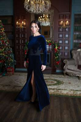 Синее бархатное платье от KUTUZOV в Санкт-Петербурге Фото 2