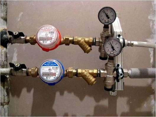 Установка счетчиков воды, фильтров.