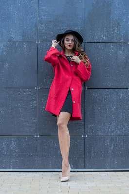Пальто из вареной шерсти с воротником стойка