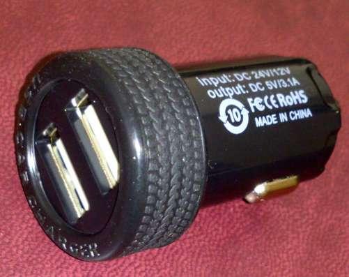Зарядка в прикуриватель на 2 USB, ток 3A