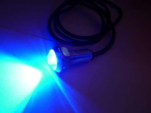 Светодиодные огни 18мм синий свет серебритый корпус