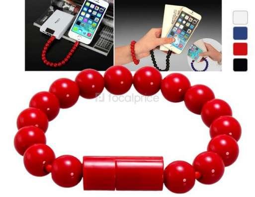 USB кабель для зарядки в виде браслета (шарики) для iPhone в Новосибирске Фото 2