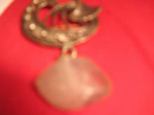 брош мельхиор с натуральным камнем  период СССР