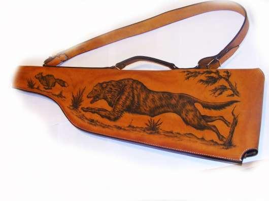 Кожаный чехол для ружья с рисунком