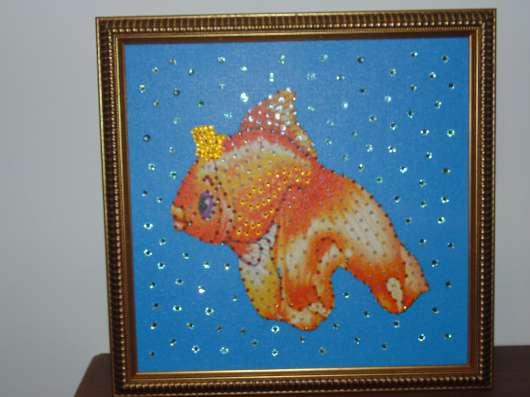 """картина репродукция """"Золотая рыбка со стразами"""""""