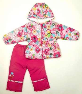 Новый зимн-демисез костюм 1-3 лет куртка брюки малинов цветы