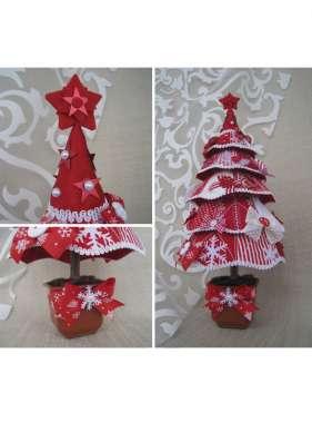 Елка текстильная красно-белая
