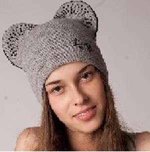 """Женская трикотажная шапка модель 399 """"Микки Маус зима"""""""