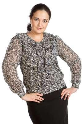Нарядная трикотажная блузка с шифоном