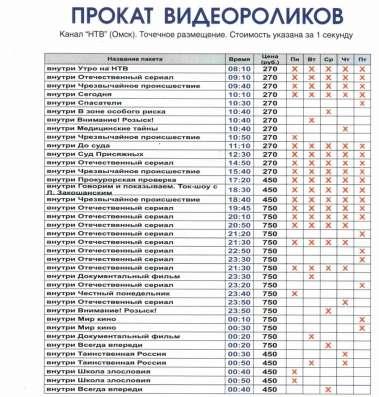 Реклама на канале НТВ в Омске